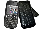 Suncase Original Leather Mobile Phone Case with Pull-Up Strap for Nokia Asha 201 Croco-Brown