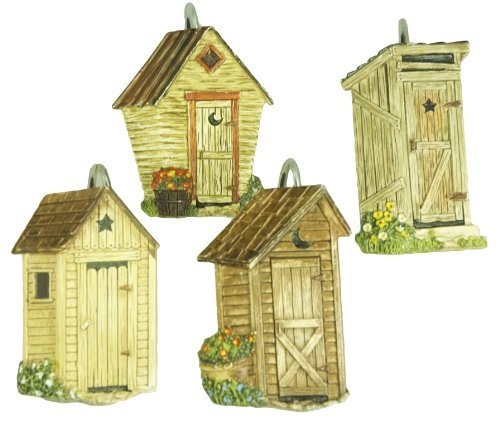 Details about Park Designs Outhouse Shower Curtain, Hook Set New