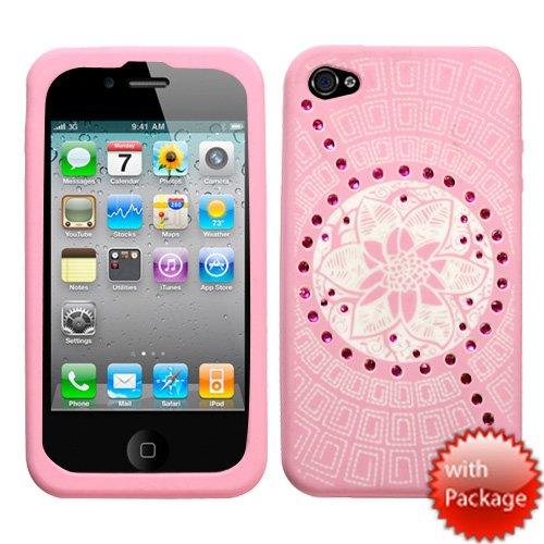 APPLE AT&T VERIZON IPHONE 4 4S 4G 16GB AND 32GB LIGHT PINK WHITE TRIBAL FLOWER SPARKLE RHINESTONE BLING DESIGN SILICONE RUBBER TOUCH GEL SKIN