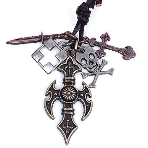 Nice Buckeye Studded Punck Style Gothic Skull Sword Leather Length Pendant Necklace