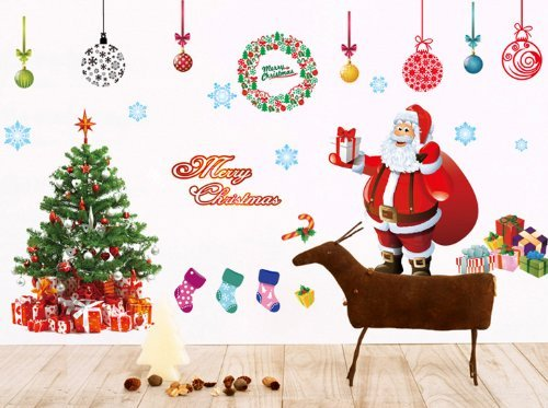 UfingoDecor XLarge Merry Christmas Santa Claus Christmas Tree Christmas Stockings Christmas Gifts Wall Decals