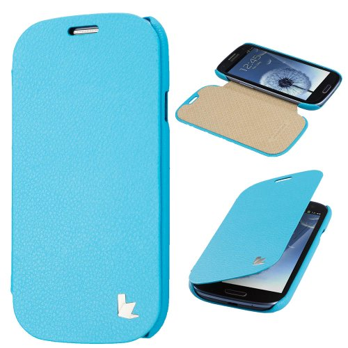 Jisoncase JS-SM9-01H40 Premium Leatherette Fashion Folio Case for Samsung Galaxy S III – Retail Packaging – Sky Blue coupon