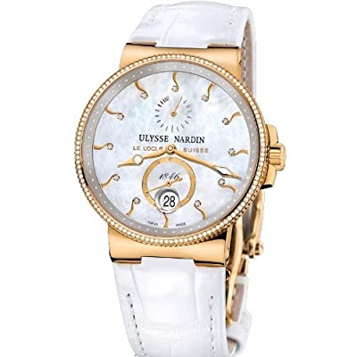 New Ladies Ulysse Nardin Maxi Marine Diver Chronometer Solid 18K Rose Gold Diamonds Watch 266-66B/991