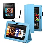 Light Blue Luxury Multi Function Standby Case for the New Kindle Fire HD 7