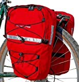 Bushwhacker Moab Red - Bicycle Front/ Rear Pannier Cycling Rack Pack Bike Bag - w/ Reflective Trim - Sold as Pair