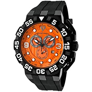 Swiss Legend Men's Quartz Watch with Orange Dial Chronograph Display and Black Silicone Strap SL-10125-BB-06