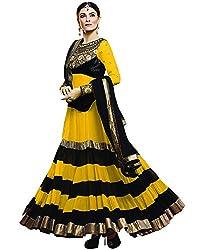 Diya Women's Yellow Georgette Designer Dress Materials [DS_JCN1030D_D]