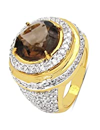 10.10 Grams Smoky Topaz & White Cubic Zirconia Gold Plated Brass Ring