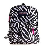 JanSport Classic SuperBreak Backpack, Black/White/Fluorescent Pink