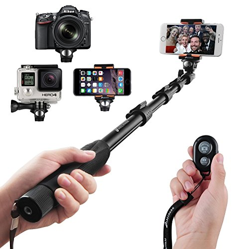 Selfie Stick, Arespark Durable Handheld Selfie Monopod Portable Selfie Pole for Gopros, DSLR, Cameras & Cellphones with Bluetooth Remote Control for Ios/Android Phones, Extends to 50 Inches