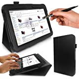 Google Nexus 10 Tablet Case - G-HUB PropUp BLACK Stand Case Cover (with integrated stand function and magnetic sleep sensors) for Google / Samsung Nexus 10 with BONUS: G-HUB ProPen Stylus