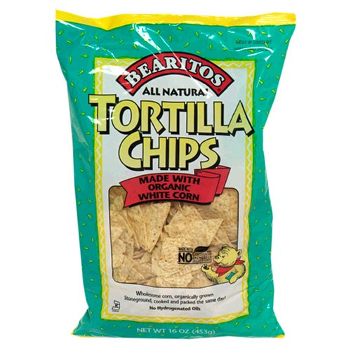 Bearitos White Corn Tortilla Chips, 16 Ounce Bags (Pack of 12)