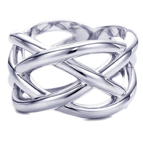 .925 Sterling Silver Designer Tri Woven Braid Wedding Fashion Ring Band - Size 5