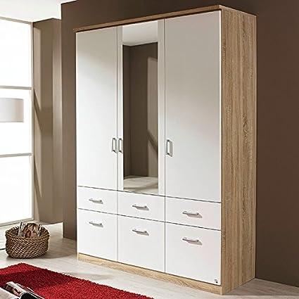 Kleiderschrank grau / weiß 3 Turen B 136 cm eiche sonoma Schrank Drehturenschrank Wäscheschrank Spiegelschrank Kinderzimmer Jugendzimmer