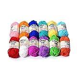 LIHAO 12 Skeins Mini Bonbons Yarn for Knitting Crochet Craft - 100% Acrylic