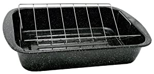 Granite Ware 0564 Open Rectangle Roaster with Non-Stick V-Rack, 19-Inch