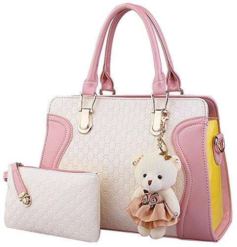 Borsa per le donne Messenger Bag borsa in pelle borsetta + Small Bag + orso portachiavi + cartolina