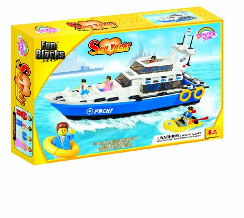 Fun Blocks (Compatible With Lego) Sea Yacht Brick Set (600 Pieces)