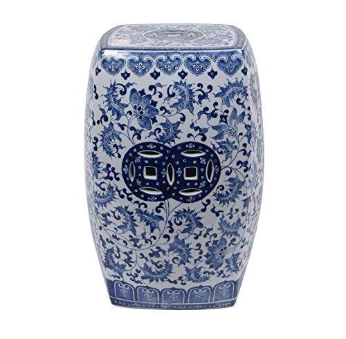 Porcelain Ceramic Garden Stool Blue White Indoor Outdoor Patio Décor 966132 image