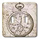 3dRose lsp_110249_2 Vintage Stop Watch Steampunk Art Double Toggle Switch