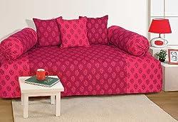 Swayam Diwan-e-Khaas Cotton 6 Piece Diwan Set - Magenta (DWN16-3008)