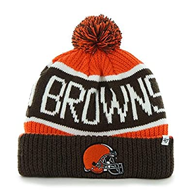 Cleveland Browns Orange Calgary Cuffed Pom Knit Beanie Hat / Cap
