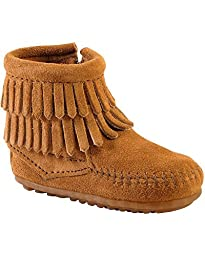 Minnetonka Double Fringe Bootie (Infant/Toddler),Taupe,2 M US Infant