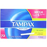 Tampax Multipax Cardboard Applicator Tampons 72 Count