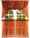 Kitchen Voile Curtain + Silk Satin Valance - Burgundy