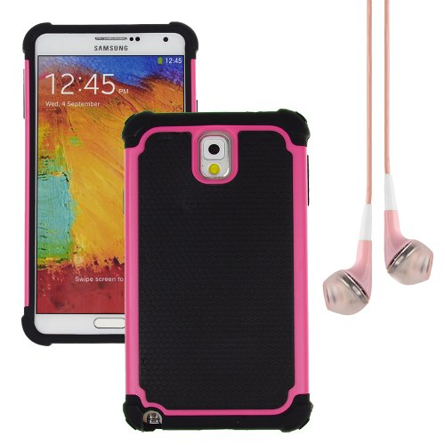Hybrid Dual Layer Armor Defender Protective Case Cover For Samsung Galaxy Note 3 (At&T Verizon Sprint T-Mobile) + Vangoddy Pink Headphone (Rose)