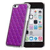 Invero® Chrome Finish Crystal Diamond Design Bling Case for Apple Iphone 5C with Screen Protector, Micro Fibre Cloth and Application Card (Purple)