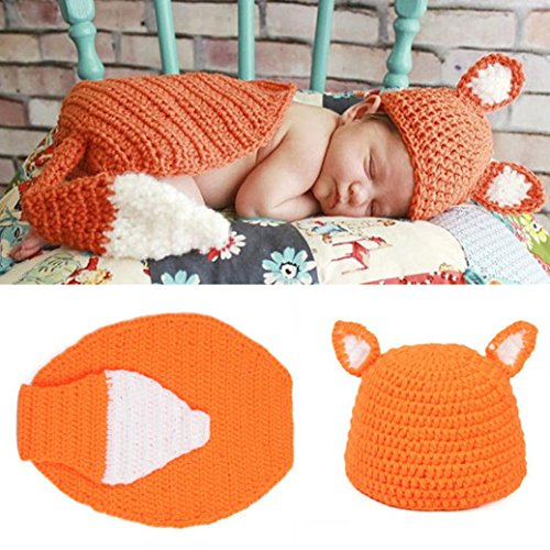 Voberry® Newborn Baby Large Tail Fox Knit Hat Tail Costume Photography Prop Set