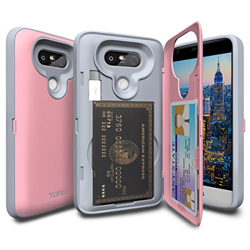 04. LG G5 Case, TORU [CX PRO] G5 Wallet Case - [CARD SLOT][ID HOLDER] Protective Hidden Wallet Case with Mirror for LG G5 - Pastel Pink