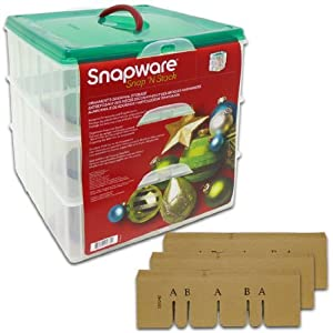 """Snapware #1098785 Snap 'N Stack Seasonal Ornament (3 Trays) 12.25""""X 12.25"""" Square Layer Storage Containers Set"""