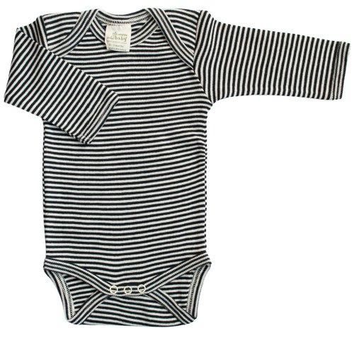 Nature Baby Organic Cotton Long-Sleeved Bodysuit, 0-3 Months, Navy Stripe