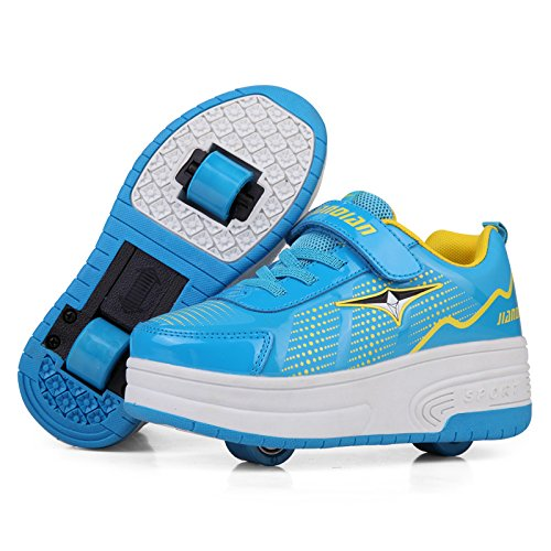 KE Luce Unisex Bambini LED Sneakers gommati Auto-paragrafo Roller Skates Scarpe sportive Scarpe lampeggiante (CN36=23CM, Two wheels Blue)