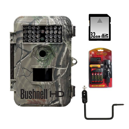 Bushnell 8Mp Trophy Cam Hd Realtree Xtra Camo Night Vision Hybrid Outfit + 32Gb Secure Digital Memory Card + Battery & Charger Set + Bushnell Unique Tree Bracket Kit