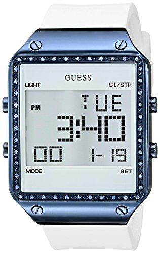 Guess Mujer u0700l3Digital Reloj de silicona), color blanco con alarma, dual time zone y funciones del cronógrafo