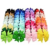 40PCS 3 inch Grosgrain Ribbon Child Hair Bows in Pure Color With Clips 40 Colors Small Bow Kids Barrettes Pony Hair Accessories (Color: Multi, Tamaño: Medium)