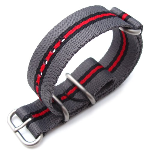 Miltat 24Mm 3 Rings Zulu Watch Strap Ballistic Nylon - Grey, Black & Red, Brushed Hardware