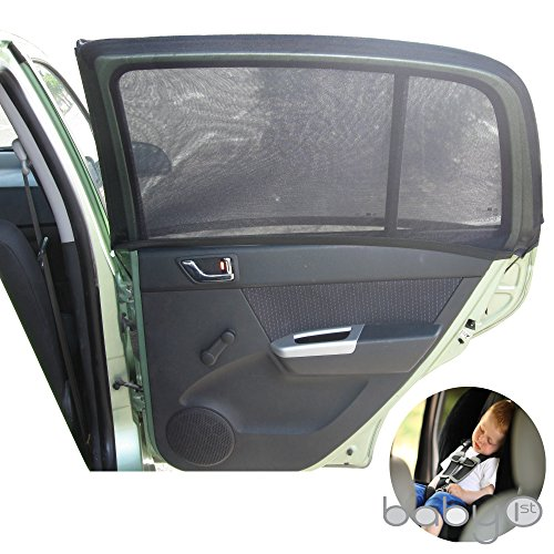Universal Car Sun Shades Cover for Rear Side Window Provides Maximum UV Protection for Baby, Children, Kids and Dog. Best Quality Mesh Material- 1 Set \2 pieces (Black) ARPANSA TESTED UVA 84ֵֵ% (Car Side Window Sun Visor compare prices)