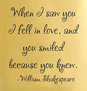fell in love, and you smiled because you knew. William Shakespeare