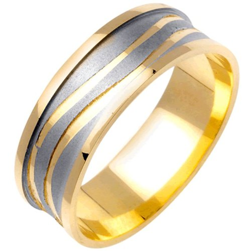 14K Two Tone Gold Women's Carved Lines Canal Wedding Band (7mm)