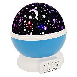 ZHOPPY USB / Battery Operated Moon and Star Light Projector Night Lights for Babies and Kids Bedroom, Blue
