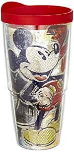 Tervis Pop Wrap Tumbler with Red Lid, 24-Ounce, Disney Mickey Mouse