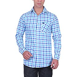 Cotblend Men's Casual Shirt (CB-SLUB220-Blue-M, Blue, M)