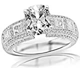 1.85 Carat Cushion Cut / Shape 14K White Gold Exquisite Bezel Set Princess Cut And Pave Set Round Diamond Engagement Ring ( E-F Color , VS2 Clarity )