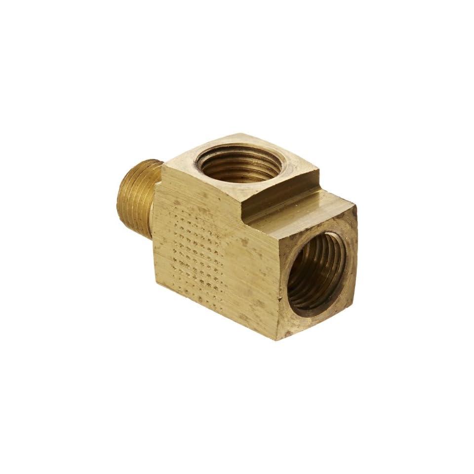 Eaton Weatherhead 752X4 Brass CA360 Inverted Flare Brass Fitting, Run Tee, 1/8 NPT Male x 1/4 Tube OD