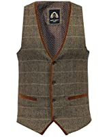 Mens Waistcoat Marc Darcy Vest Formal Herringbone Tweed Velvet Check Sleeveless