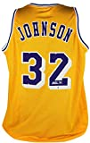 Lakers Magic Johnson Authentic Signed Yellow Jersey Autographed BAS Witnessed